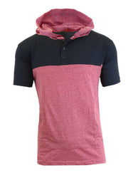 Daily Steals-Short Sleeve Henley Hoodie for Men-Men's Apparel-Black - Heather Burgundy-Medium-