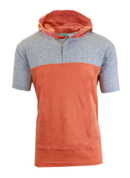 Daily Steals-Short Sleeve Henley Hoodie for Men-Men's Apparel-Heather Grey - Salmon-Medium-