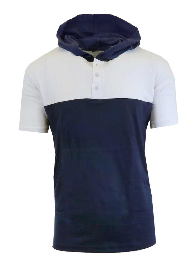 Daily Steals-Short Sleeve Henley Hoodie for Men-Men's Apparel-White - Navy-Medium-