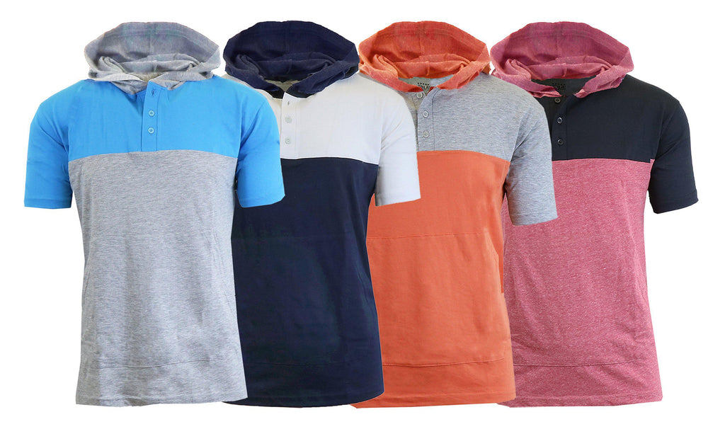 Daily Steals-Short Sleeve Henley Hoodie for Men-Men's Apparel-Aqua - Heather Grey-Medium-