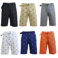 Men's Belted Fashion Printed Cotton Shorts with Modern Fit-Daily Steals