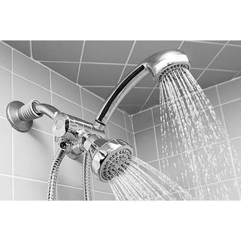 Daily Steals-Easy Install, 5-function, Dual Shower Head andMassager Set - Chrome-Health and Beauty-