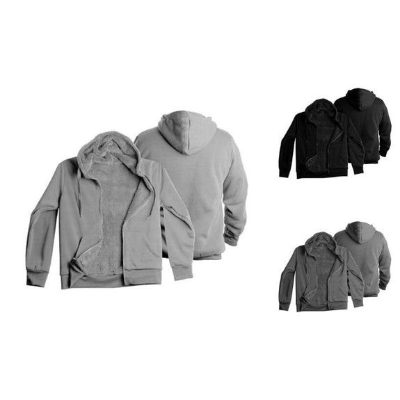 Men's Heavyweight Sherpa-Lined Fleece Hoodie - 3 Pack-Black/Grey/Charcoal-L-Daily Steals