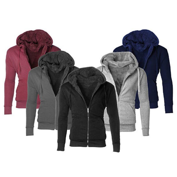 Men's Heavyweight Sherpa-Lined Fleece Hoodie - 3 Pack-Daily Steals
