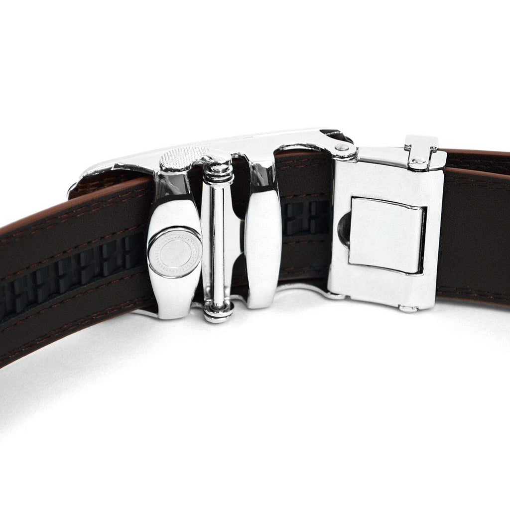 Men's Genuine Leather Sliding Buckle Ratchet - Elegant Style