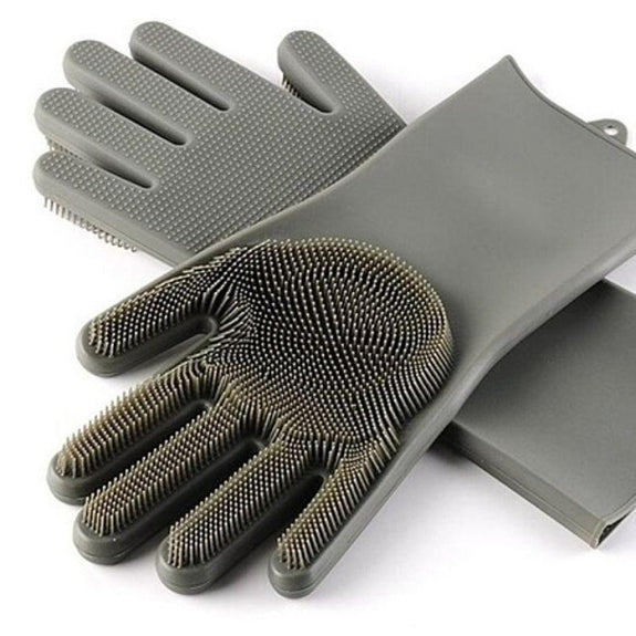 Silicone Dishwashing Scrubber Gloves-Gray-