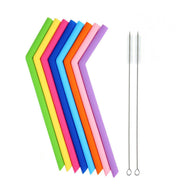 [Assorted 8 Pack] Reusable Silicone Straws with Cleaning Tools-Folded-Daily Steals