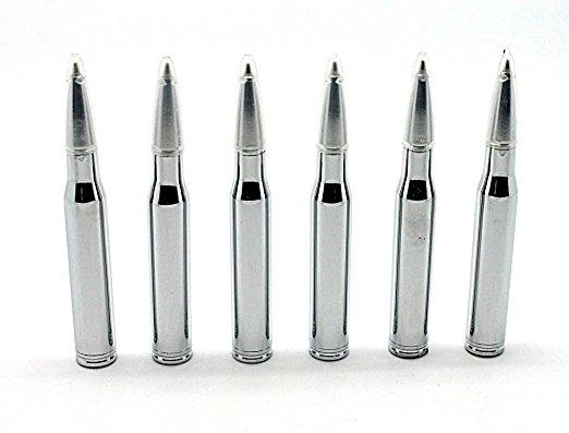Daily Steals-Silver Bullet Pens Gift Set with Silk Lined Box - 6 Pack-Home and Office Essentials-