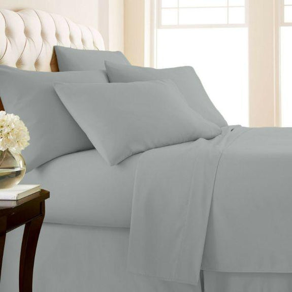 4-Piece: Luxury Home 1,000 Thread Count Egyptian Cotton Sheet Sets-Silver-Twin-Daily Steals