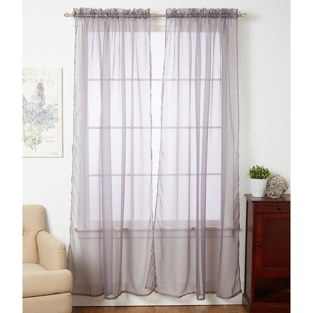 Linda Sheer Voile Curtain Panels - Various Colors - 4-Pack-SILVER-Daily Steals