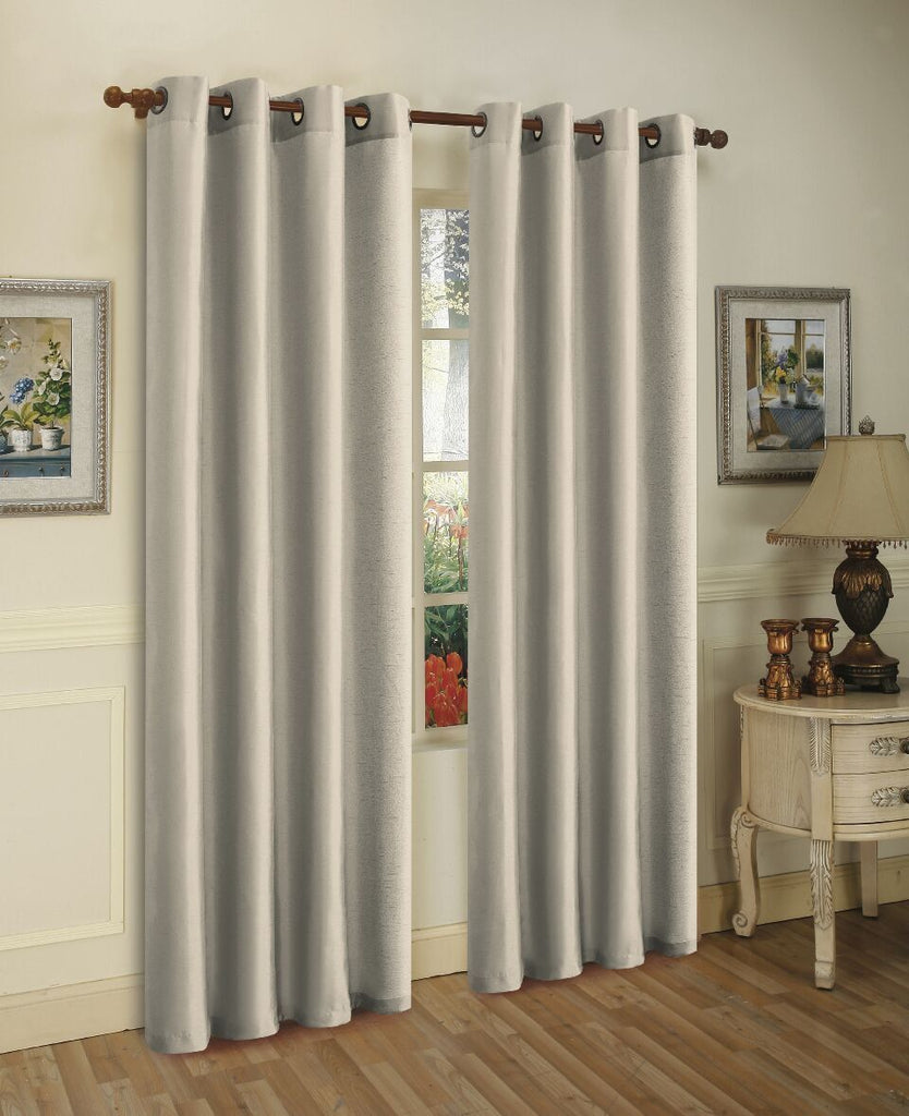 Mira Faux Silk Curtains with Bronze Grommets - 3 Panels-Silver-Daily Steals