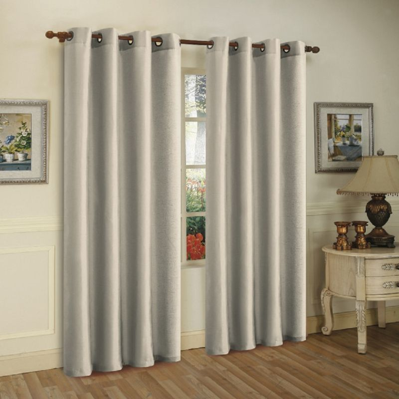 Set of Two Stylish Curtain Panels with Rod Grommets: 58 x 84 Inches-Silver-Daily Steals
