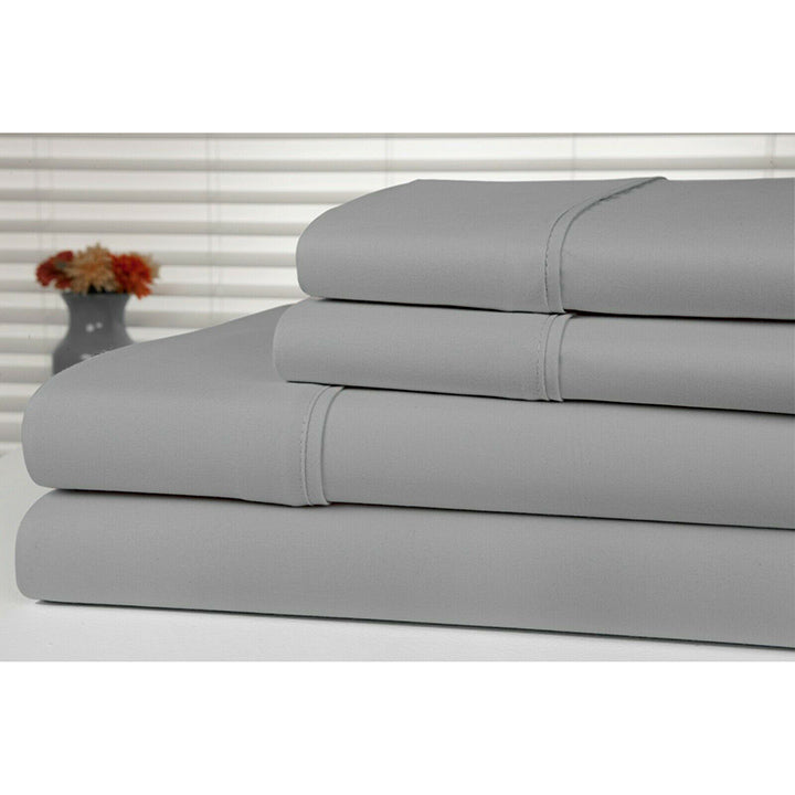Bamboo Luxury 1800 Count Solid Sheet Set - 4 Pieces-Silver-Full-Daily Steals