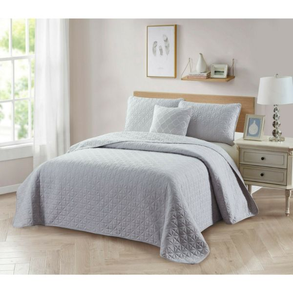 Bibb Home 4-Piece Solid Reversible Quilt Set-Silver-Full/Queen-Daily Steals