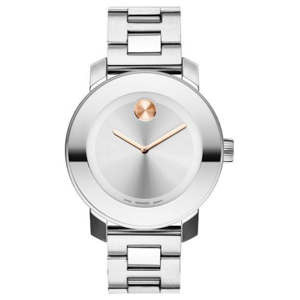 Movado Women's BOLD Iconic Metal Watch with a Flat Dot Sunray Dial, Silver/Pink/Gold (Model 3600084)-Daily Steals