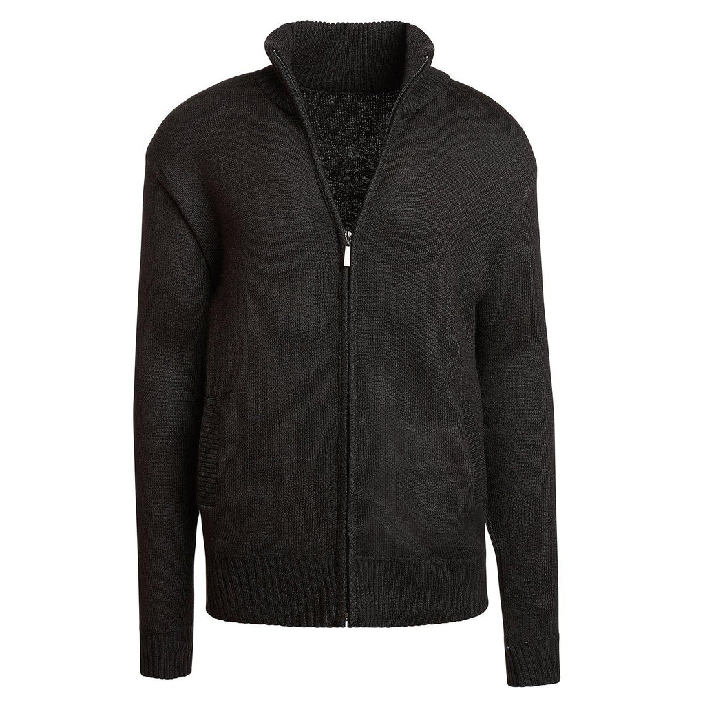 Alta Men's Casual Long Sleeve Full-Zip Mock Neck Sweater Jacket-Black-L-Daily Steals