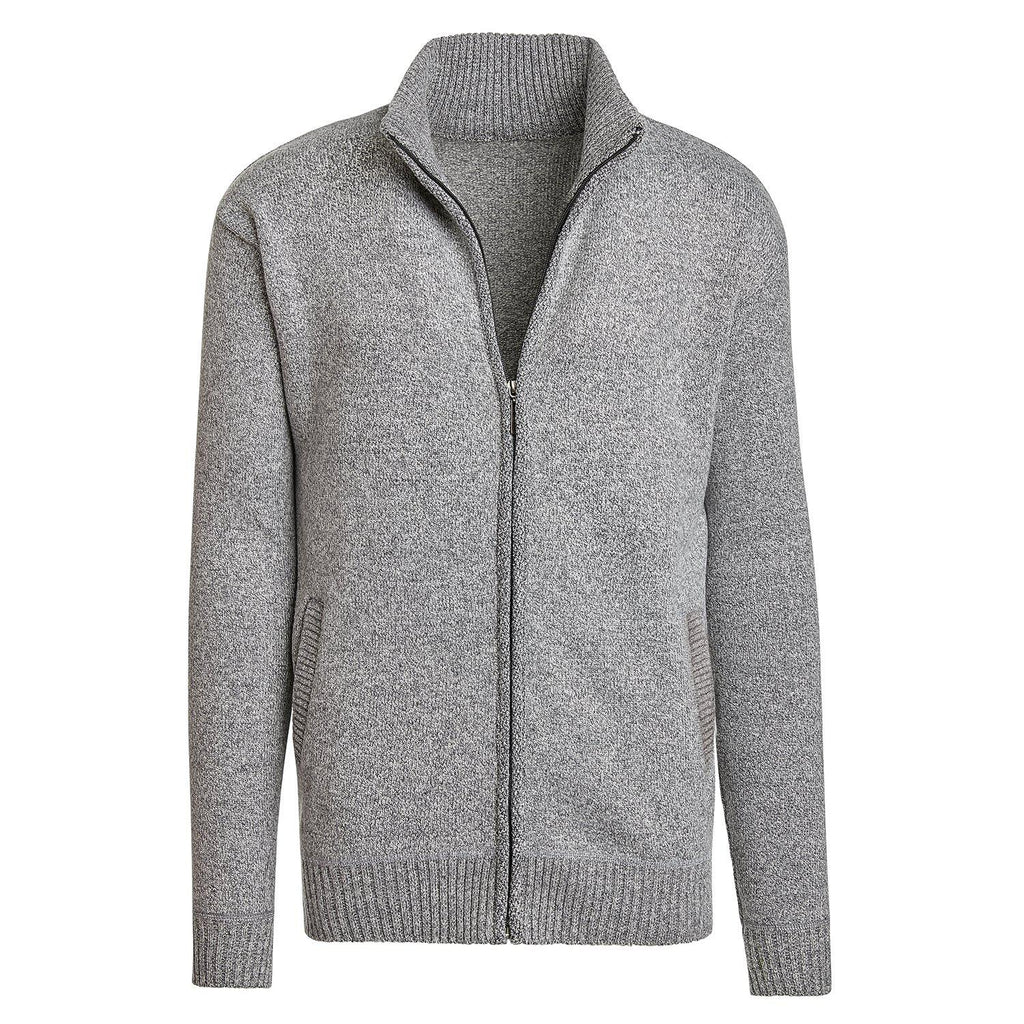 Alta Men's Casual Long Sleeve Full-Zip Mock Neck Sweater Jacket-Gray-M-Daily Steals