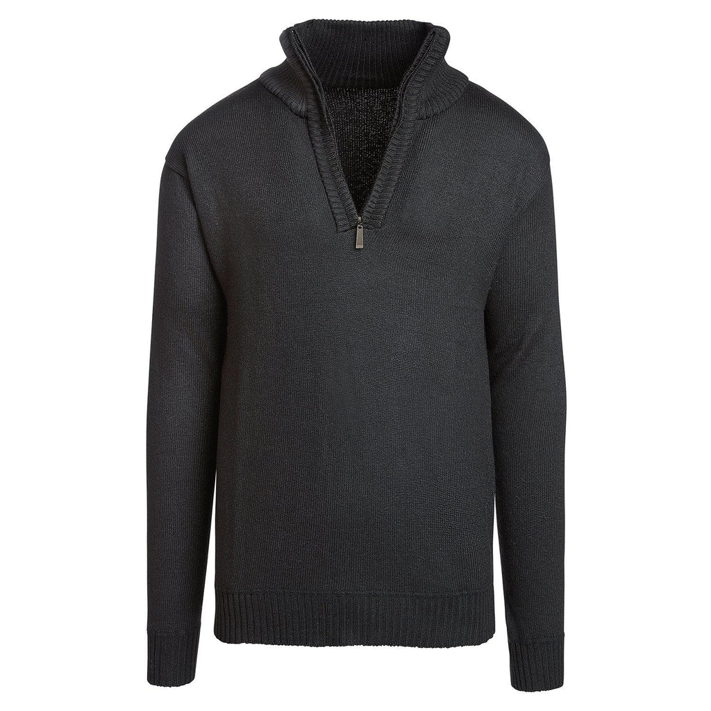 Alta Men's Casual Long Sleeve Half-Zip Mock Neck Sweater Jacket-Black-L-Daily Steals