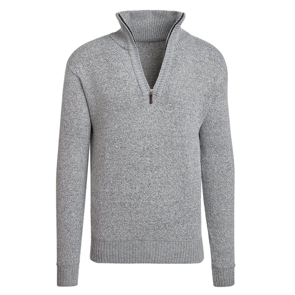Alta Men's Casual Long Sleeve Half-Zip Mock Neck Sweater Jacket-Gray-M-Daily Steals