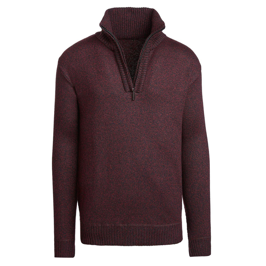 Alta Men's Casual Long Sleeve Half-Zip Mock Neck Sweater Jacket-Red-M-Daily Steals