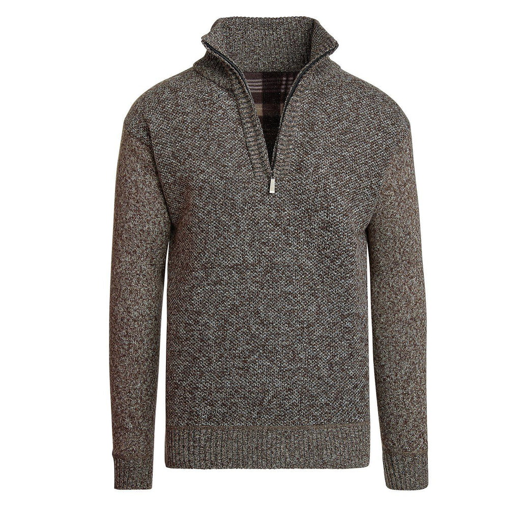 Alta Men's Casual Long Sleeve (Half-Zip / Full-Zip) Mock Neck Sweater Jacket-Brown-Half-Zip-S-Daily Steals
