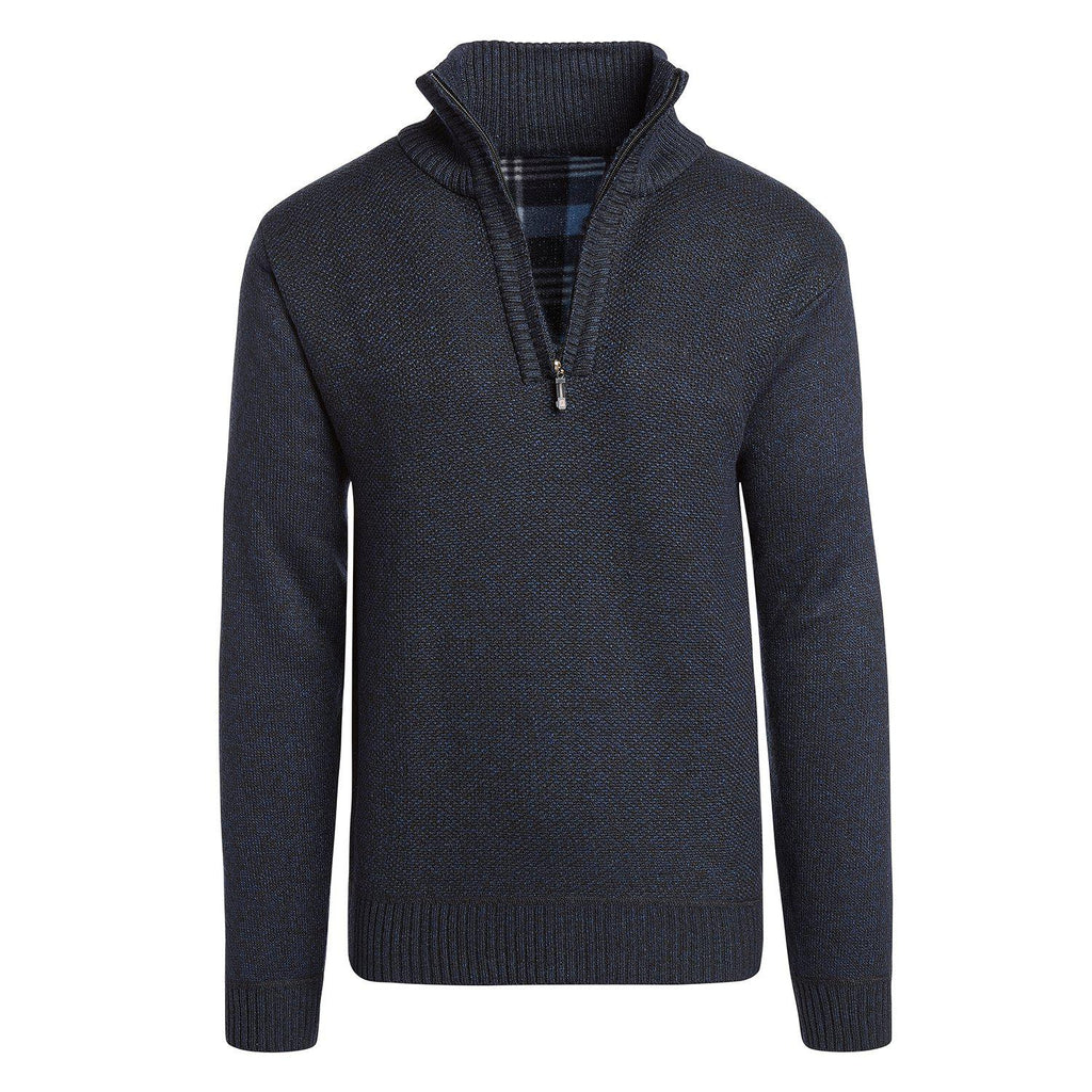 Alta Men's Casual Long Sleeve (Half-Zip / Full-Zip) Mock Neck Sweater Jacket-Navy Blue-Half-Zip-S-Daily Steals