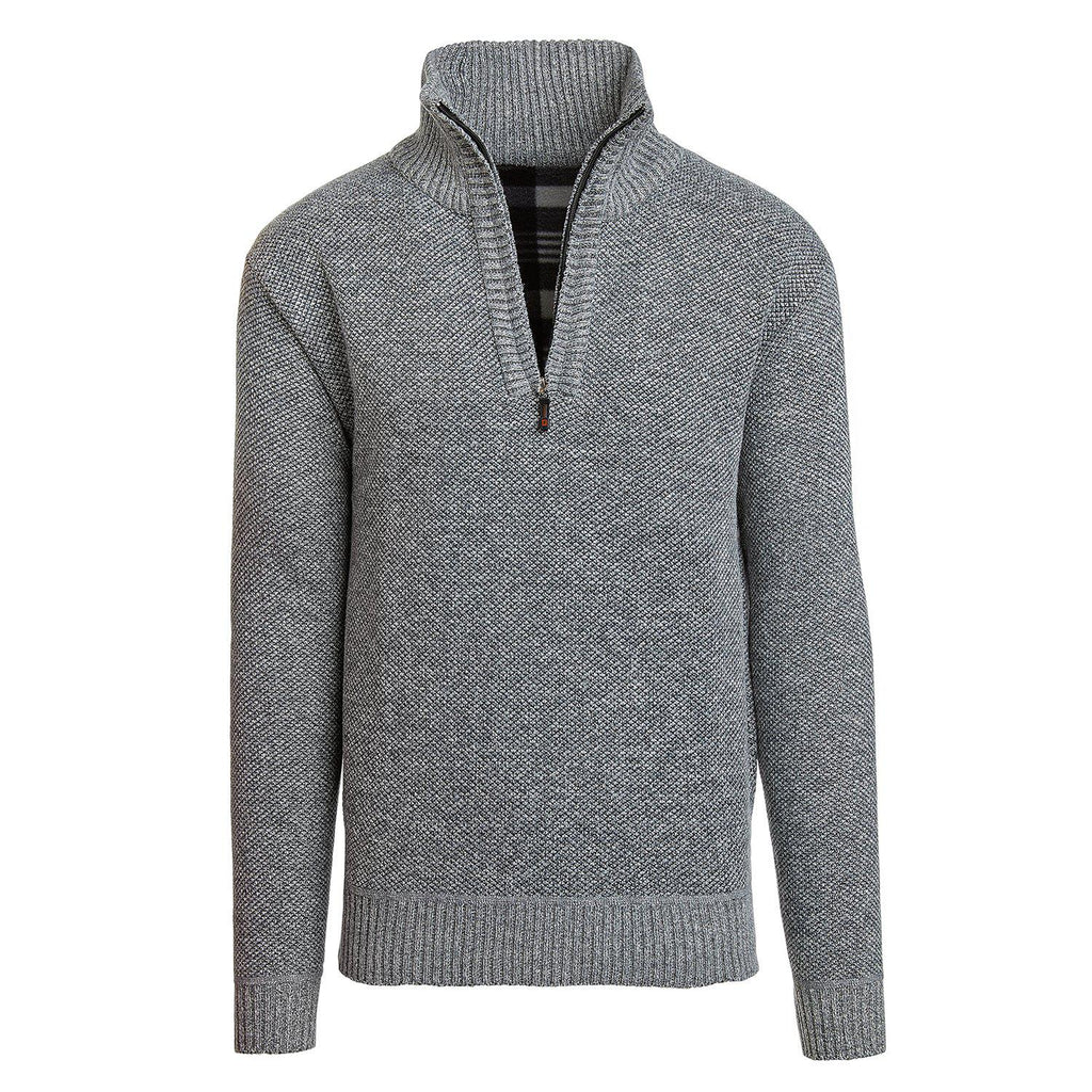 Alta Men's Casual Long Sleeve (Half-Zip / Full-Zip) Mock Neck Sweater Jacket-Light Gray-Half-Zip-S-Daily Steals