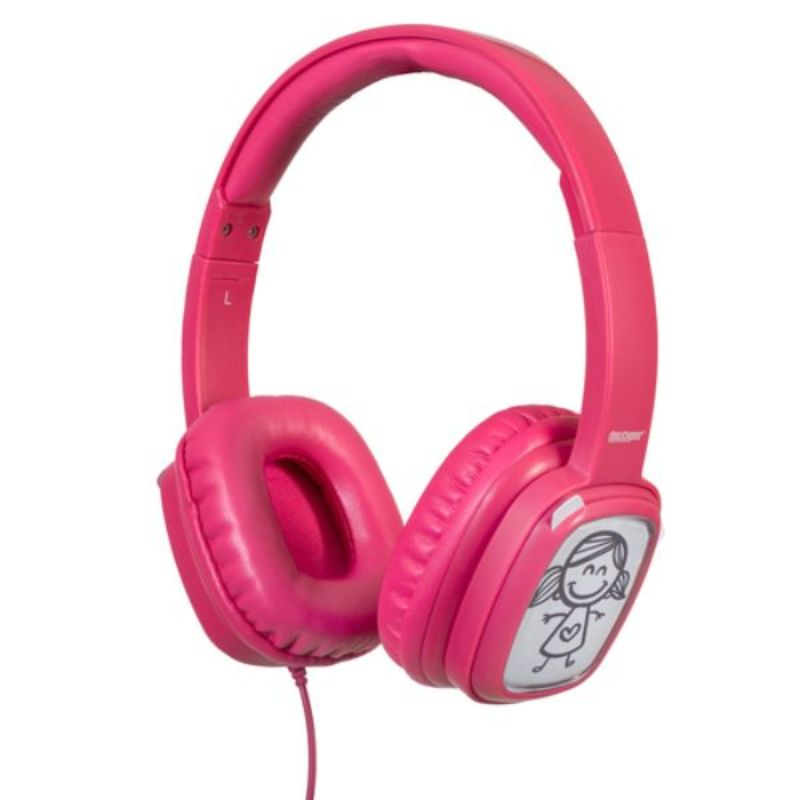 Deco Gear Kids Over-Ear Customizable Doodle Headphones with Safe Ears Volume Limiter-Pink-Daily Steals