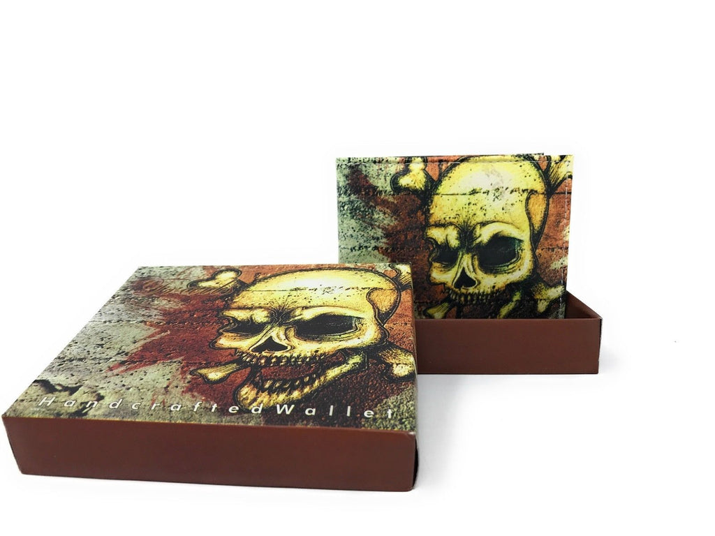 Bifold Wallets With Printed Designs - Comes in Gift Box-SKULL BROWN-Daily Steals