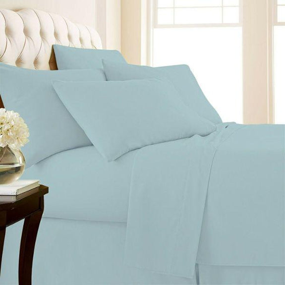 4-Piece: Luxury Home 1,000 Thread Count Egyptian Cotton Sheet Sets-Sky Blue-Full-Daily Steals
