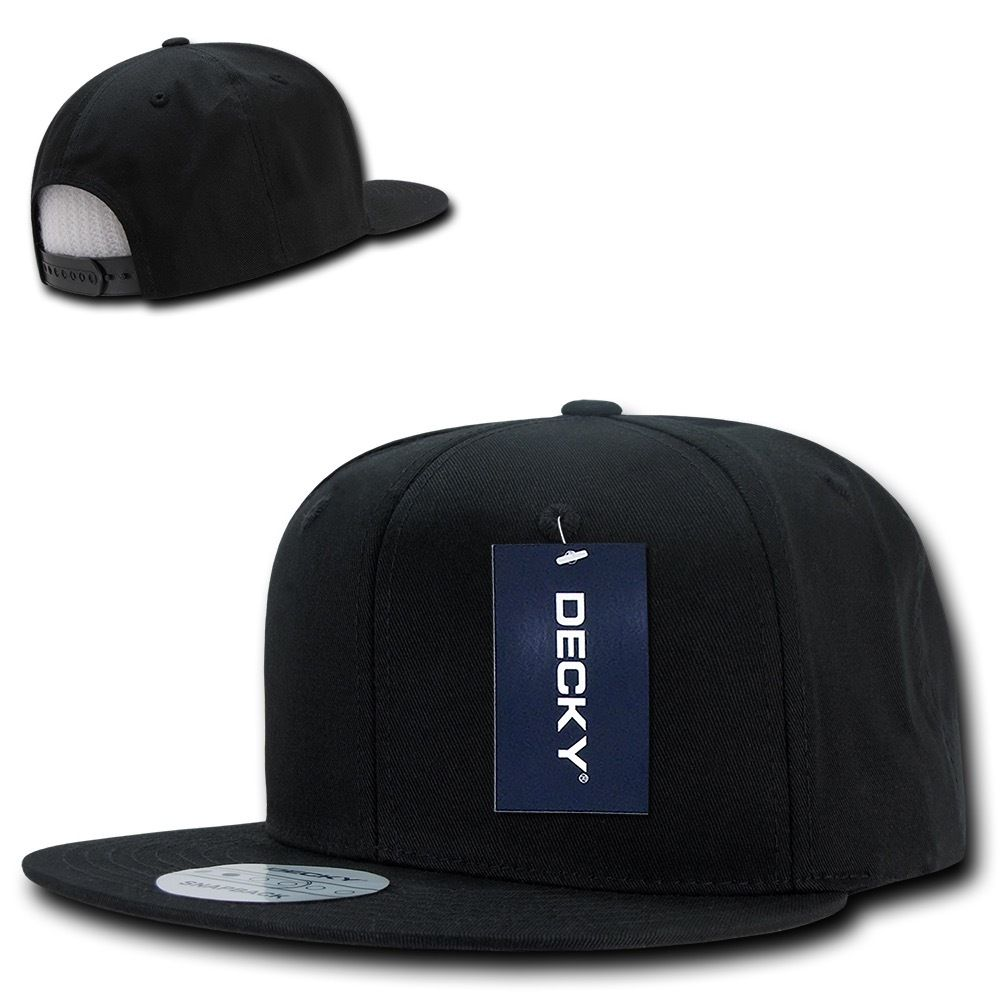 DECKY Cotton Retro Flat Bill 6 Panel Snapback Baseball Caps-Black-Daily Steals