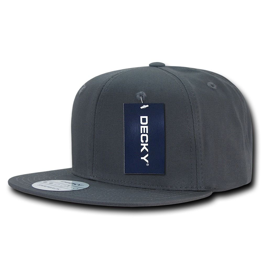 DECKY Cotton Retro Flat Bill 6 Panel Snapback Baseball Caps-Charcoal-Daily Steals