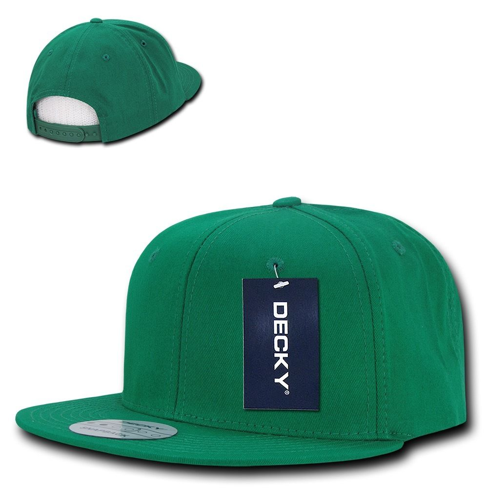 DECKY Cotton Retro Flat Bill 6 Panel Snapback Baseball Caps-Kelly-Daily Steals