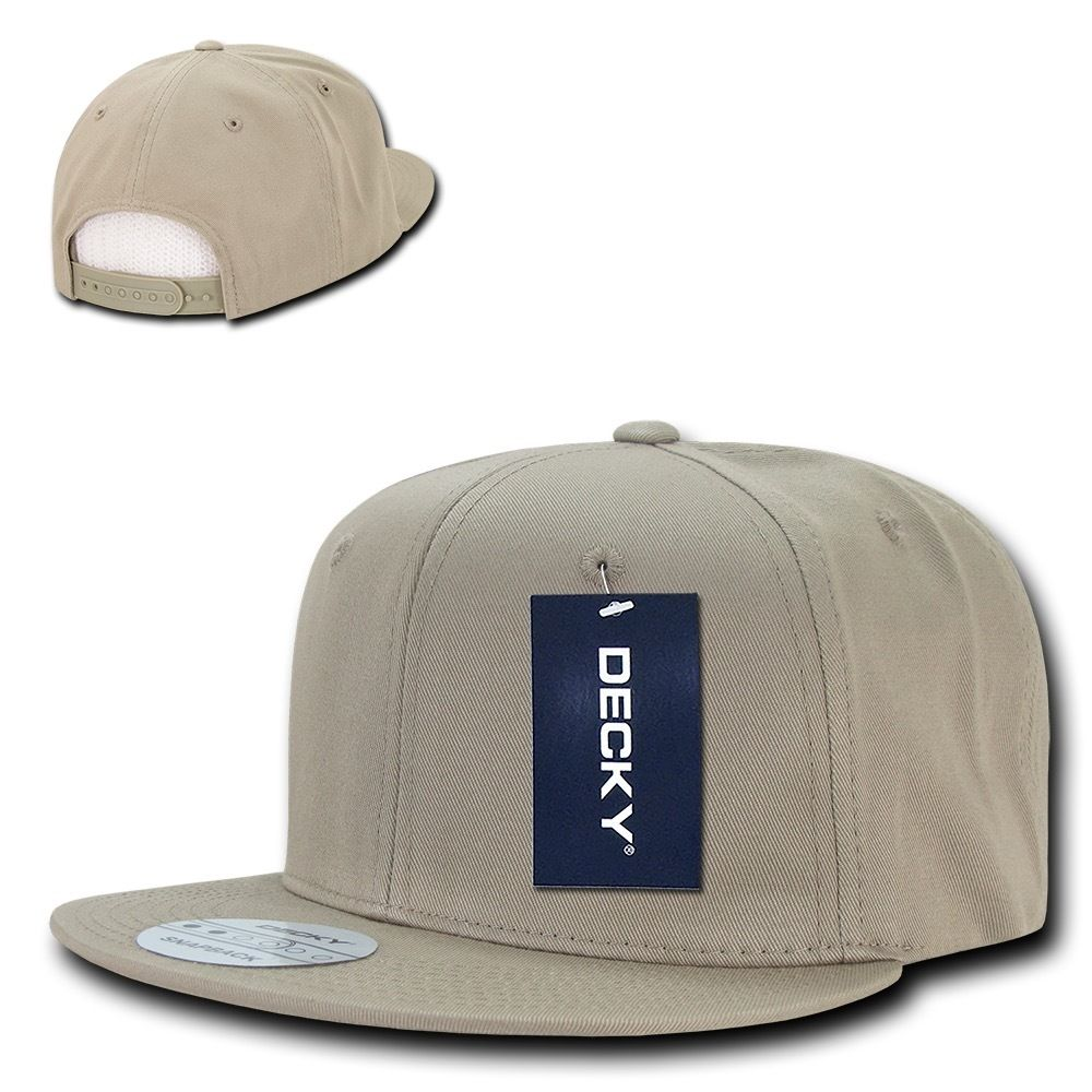 DECKY Cotton Retro Flat Bill 6 Panel Snapback Baseball Caps-Khaki-Daily Steals