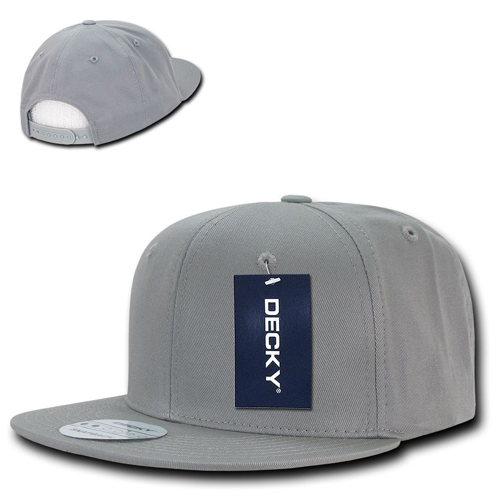 DECKY Cotton Retro Flat Bill 6 Panel Snapback Baseball Caps-Light Grey-Daily Steals