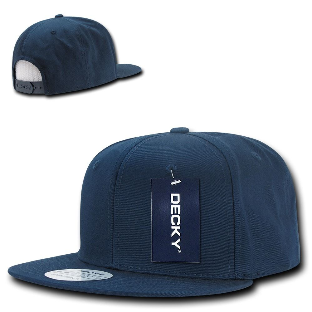 DECKY Cotton Retro Flat Bill 6 Panel Snapback Baseball Caps-Navy-Daily Steals