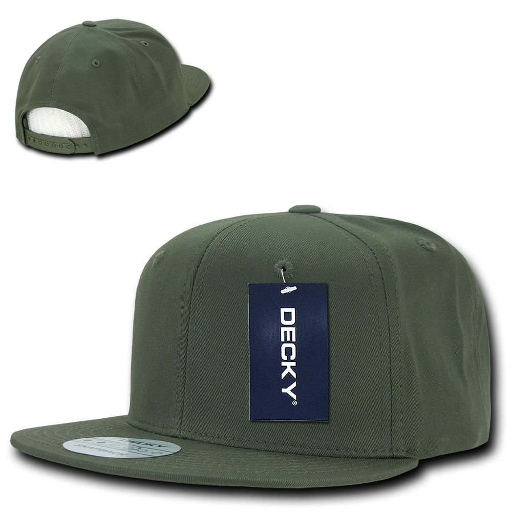 DECKY Cotton Retro Flat Bill 6 Panel Snapback Baseball Caps-Olive-Daily Steals