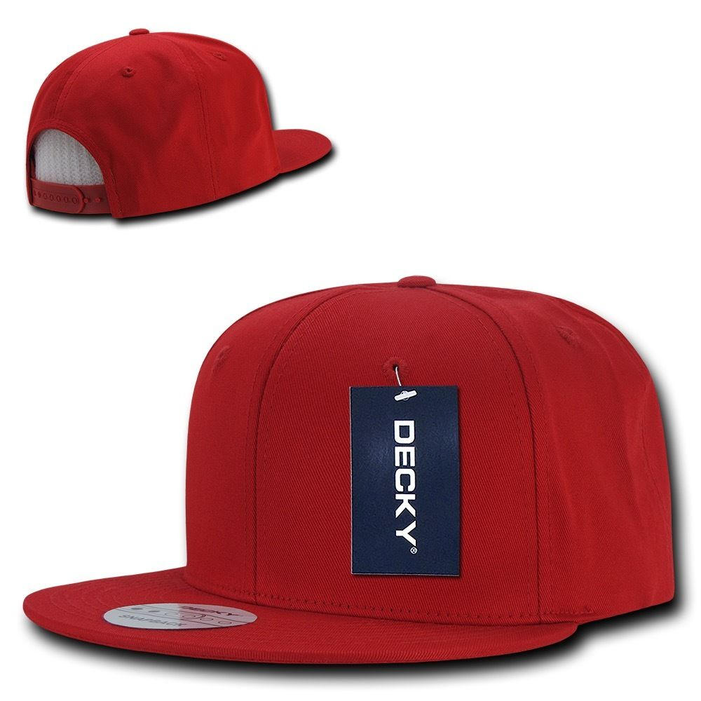 DECKY Cotton Retro Flat Bill 6 Panel Snapback Baseball Caps-Red-Daily Steals