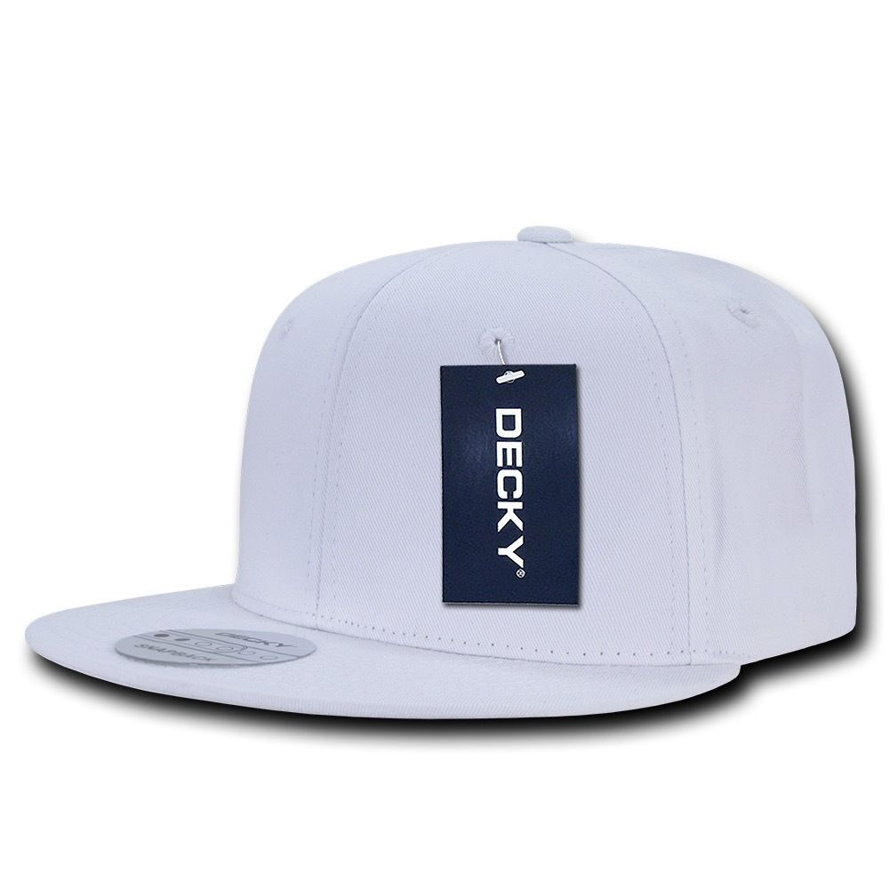 DECKY Cotton Retro Flat Bill 6 Panel Snapback Baseball Caps-White-Daily Steals