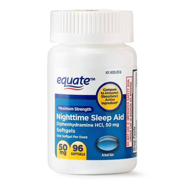 Equate Maximum Strength Nighttime Sleep Aid Softgels, 50 mg, 96 Ct - 2 Pack-Daily Steals