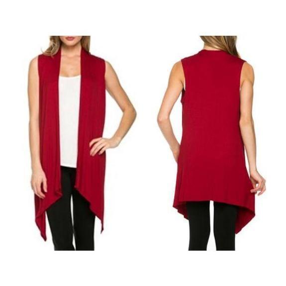 Daily Steals-Sleeveless Cardigan-Women's Apparel-Red-Large-