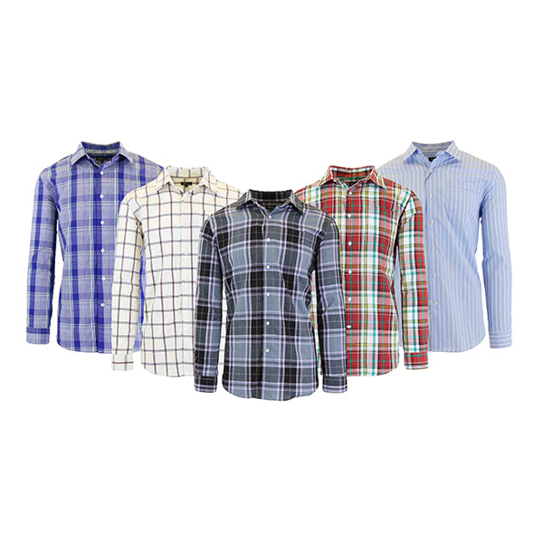 Men's Slim-Fit Plaid Dress Shirts With Chest Pocket-Daily Steals