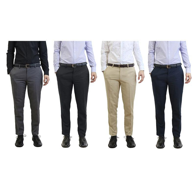 Men's Belted Slim Fit Dress Pants-Daily Steals