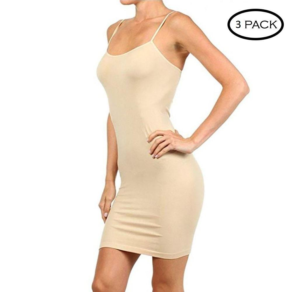 Unisize Smooth and Stretchy Polyester Slip Dress - 3 Pack-Beige-Daily Steals