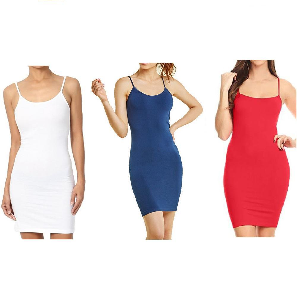 Unisize Smooth and Stretchy Polyester Slip Dress - 3 Pack-Navy Red White-Daily Steals