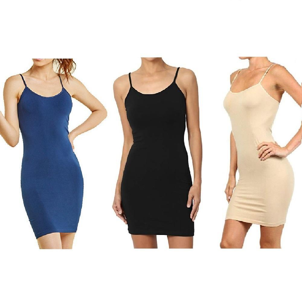Unisize Smooth and Stretchy Polyester Slip Dress - 3 Pack-Beige Black Navy-Daily Steals