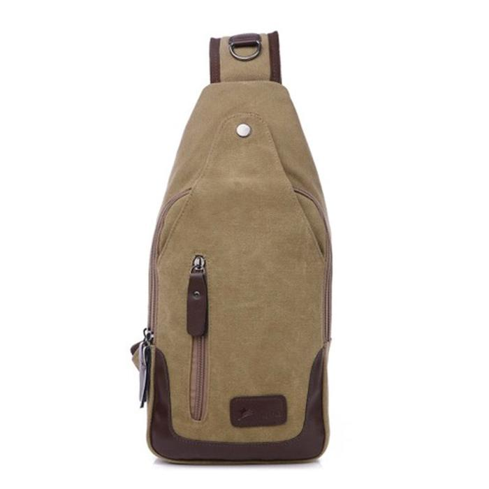 Metro Modern Canvas Shoulder Sling Bag, 5 Colors Available-Khaki-Daily Steals