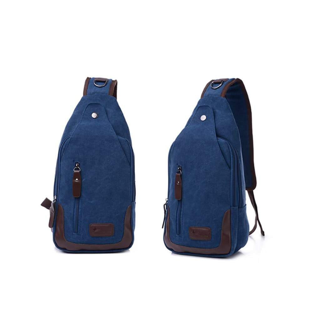 Metro Modern Canvas Shoulder Sling Bag, 5 Colors Available-Blue-Daily Steals