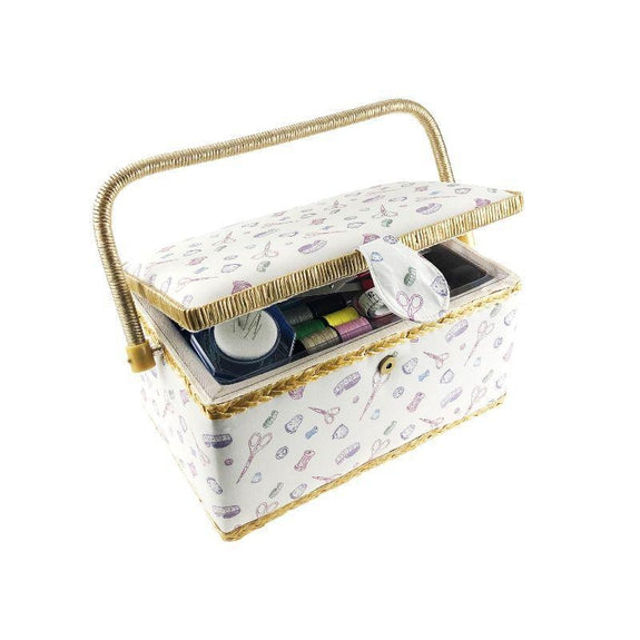 "Smartek Classic Fabric Design Sewing Basket Box with Sewing Kit Accessories-Regular 10.8"" x 6.6""-"