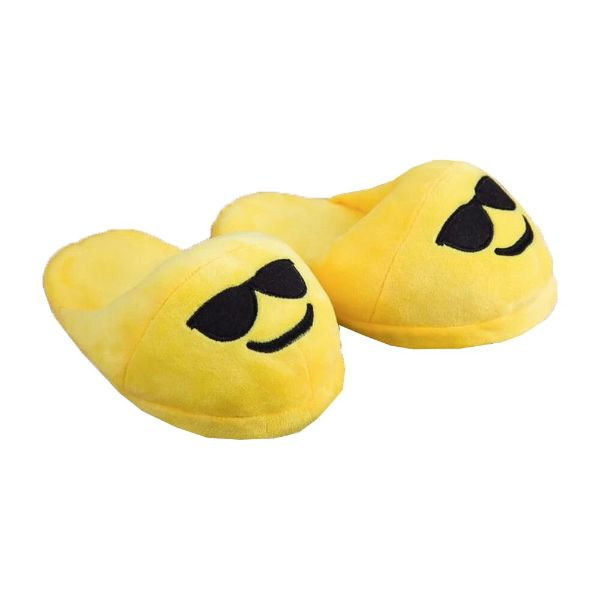 Emojeez Anti-Slip Soft Plush Emoji Characters Slippers-Smiling Face with Sunglasses Emoji-Daily Steals